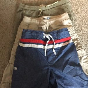 2 pairs of shorts and 1 swimming trunk bundle.